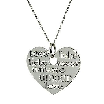 """TOC Sterling Silver Multilingual Love Heart Pendant Necklace 18"""""""