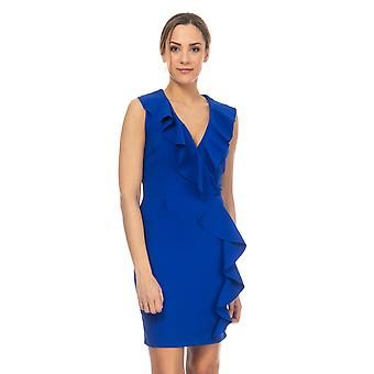 Dress with ruffles on one side and neck