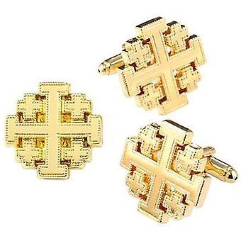 Gold-tone jerusalem cross cufflinks and pin