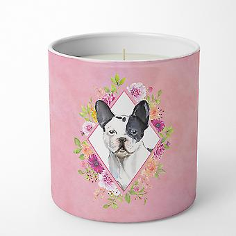 Black and White Frenchie Pink Flowers 10 oz Decorative Soy Candle