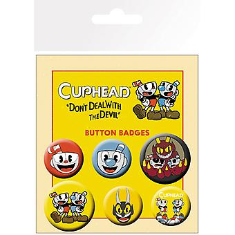 Cuphead Mix Pin Button Badges Set
