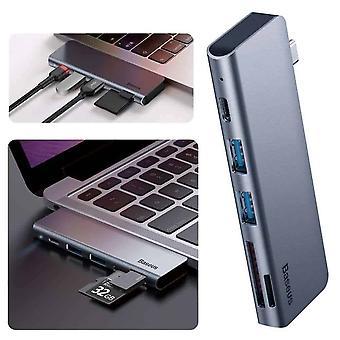 Baseus 5-en-1 USB-C Smart Hub Docking Station - Gris