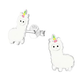 Alpaca - 925 Sterling Silver Colourful Ear Studs - W36945x