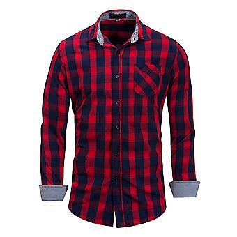 Allthemen Men's Long Sleeve Shirt Plaid Cotton Casual Shirt