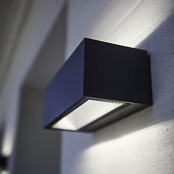 Lutec Gemini baksteen kleine 9W buitenkant LED op en neer Wall Light In grafiet
