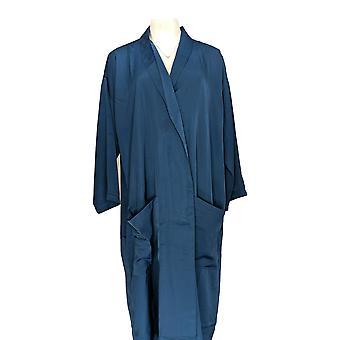 Magellan Women's Robe Solid 3/4 Sleeve w/ Pockets Blue