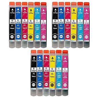 3 Set van 6 inktcartridges ter vervanging van Epson T2438 (24XL-serie) Compatibel/niet-OEM van Go-inkten (18 inkten)