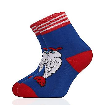 Christmas Unisex Kids Blue & Red Crew Socks