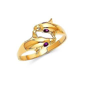 14k Giallo Oro C'è Cubic a ricubo zirconia Simulato Diamante Fancy Dolphin Ring Serie 7 Regali Gioielli per le Donne
