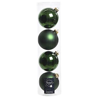 4 10cm Pine Green Glass Christmas Tree Bauble Decorations