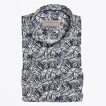 John Miller  - Printed Palm Leaf Shirt - Navy