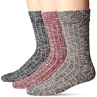 Goodthreads Men's 3-Pack Boot Socks, Red/Brown/Black, One Size