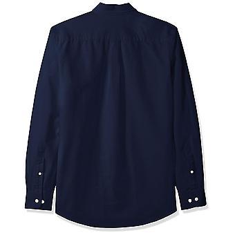 أساسيات الرجال & apos;ق سليم صالح طويل الأكمام الصلبة قميص أكسفورد, البحرية, الصغيرة
