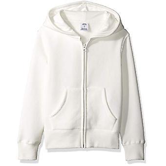 Essentials Dievčatá' Fleece Zip-up mikina s kapucňou, biela XS (4-5)