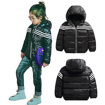 Kids Unisex Stylish Outwear High Shine Hooded Down Puffer Winter Jacket - Black