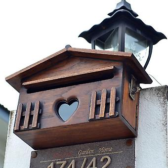 Creative Wooden Mailbox - Outdoor Post Box Rainproof Wall Mounted Letter Box For Home Company Garden Supplies