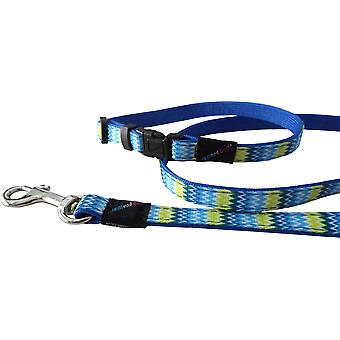 Hem & Boo Nylon Puppy Set Zig Zags - 10mm x 20-30cm - Blue