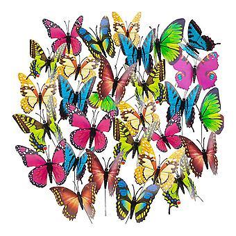 50pcs Colorful Garden Butterflies Stakes Decor 4x25CM