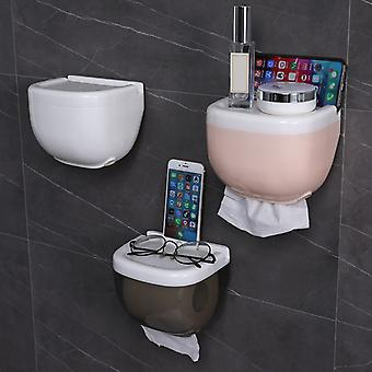 Portable, Wall Mounted And Waterproof Toilet Paper Holder With Storage Shelf