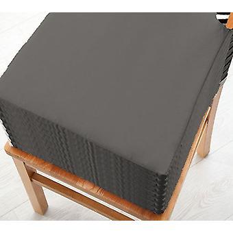 Graue Baumwolle Twill Essstuhl Sitzpad Kissen, Packung mit 8