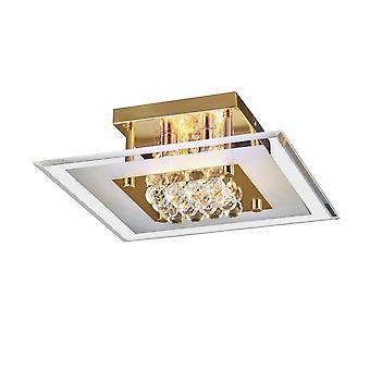 Diyas inspiré - Delmar - Flush Square 4 Light Français Or, Verre, Cristal
