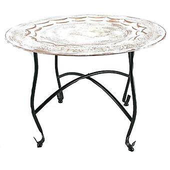 Table on rack 59cm whitewashed copper Moroccan