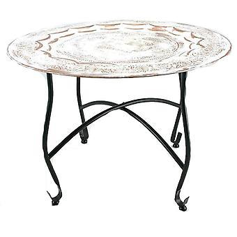Tisch auf Rack 59cm weiß getüncht Kupfer Marokkanischer