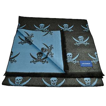 Ties Planet Lupi Romani Grey & Blue Skull & Crossed Swords Motifed Double Face Scarf