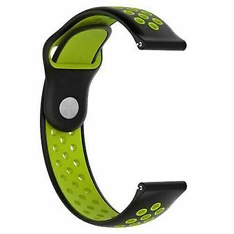 For Huawei Watch GT Replacement Silicone Sports Band Strap[Black/Green]