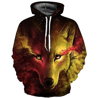 Men And Women Skateboard Hoodies, 3d Digital Wolf Printed Pullovers Basketball