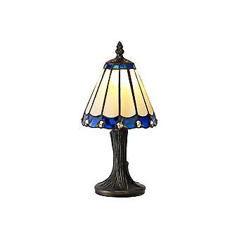 Morgan Tiffany Table Lamp, 1 X E14, Cream/blue/clear Crystal Shade