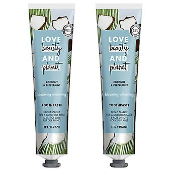 Love Beauty And Planet Coconut & Peppermint Blooming Whitening Toothpaste 75ml 2PK
