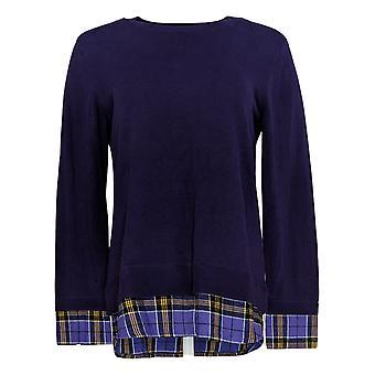 Joan Rivers Classics Collection Kvinder's Sweater Plaid Lilla A366908