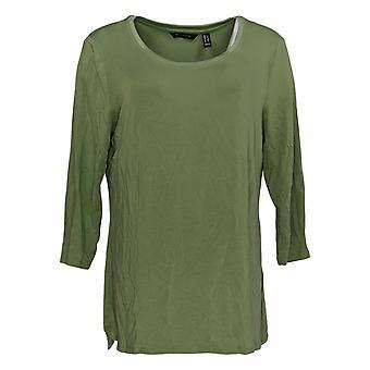 H by Halston Women's Top Essentials W/ Shirttail Hemline Green A352994