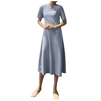 Women Summer O-neck Short Sleeve Solid A-line Long Dress