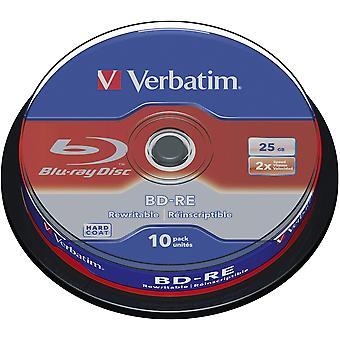 Verbatim 43694 bd-re 2x sl 25gb 10pack husillo 10pk caja de husillo