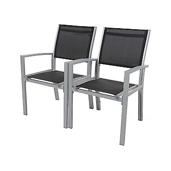 Juego de 2 sillas para jardon- textileno 'quot;Tropic-quot; - Phoenix - murzyn