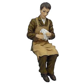 Dolls House People Victorian Servant Polishing Silver Resin Figure