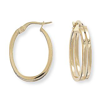 Jewelco London Ladies 9ct Yellow Gold Split Square Tube Plaine Oval Hoop Boucles d'oreilles 17mm x 24mm