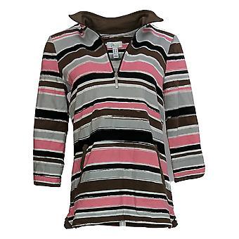 Denim & Co. Frauen's Pullover gestreift 3/4 Ärmel lila A371482