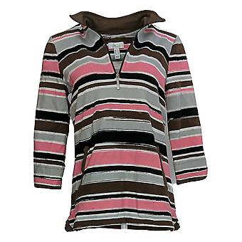 Denim & Co. Kvinder's Sweater Stribet 3/4 Sleeve Lilla A371482