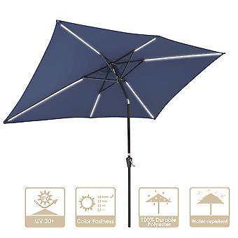 Yescom 10x6.5 Ft Solar Powered Patio Umbrella with Tilt and Crank Outdoor Poolside Yard