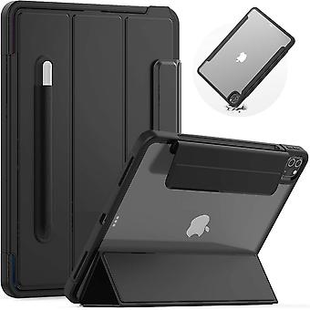 SEYMAC iPad Pro 12.9 Case Slim Shockproof with Tri-fold Front Cover and Clear Back,Auto Wake/Sleep
