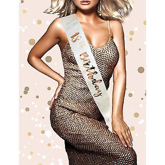 Alandra birthdays rgs-18 18th cream & rose gold metallic birthday sash, one size