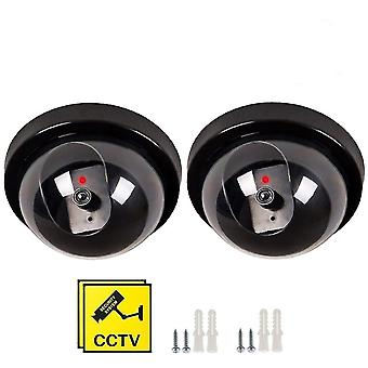 Dummy fake security cctv dome camera,seekool indoor outdoor flashing red leds light warning sign ir