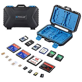 Sd card holder, puluz waterproof 26 slots memory cards case stocker shell protector cover storage bo