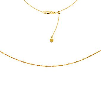 """Saturn Chain Choker 14k Yellow Gold Necklace, 16"""" Adjustable"""