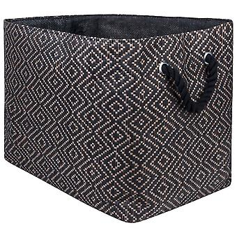 Dii Paper Bin Diamond Basketweave Rectangle gris/blanc Grand