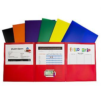 Tri-Fold 3-Pocket Poly Portfolio, Assorted, Box Of 24