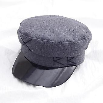 Military Leather Washed Cotton Flat Cap